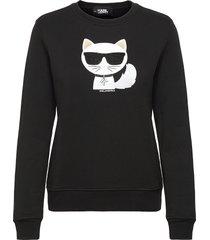 ikonik choupette sweatshirt sweat-shirt tröja svart karl lagerfeld