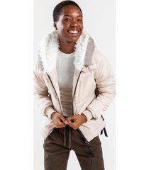 alli fur lined hooded puffer jacket - beige