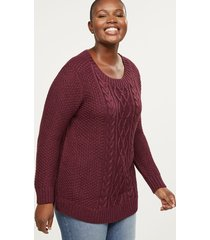 lane bryant women's cable knit shimmer tunic sweater 10/12 port royale