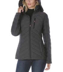 nautica hooded stretch packable puffer coat, created for macy's