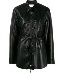 nanushka eddy vegan leather shirt - black