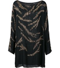 josie natori couture beaded tunic - black