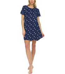 flora by flora nikrooz lace-trim ribbed sleep shirt nightgown