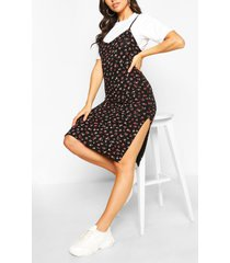 ditsy floral slip dress & t-shirt set, black