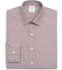 brooks brothers madison trim fit stripe dress shirt, size 15.5 - 34 in dark red at nordstrom