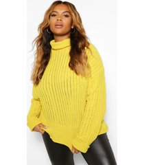 plus knitted high neck sweater, mustard