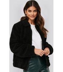 afj x na-kd teddy zipper jacket - black