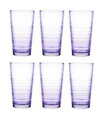 jogo de copos vidro 345ml lilas - conjunto com 06 copos