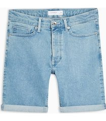 mens blue bleach wash skinny shorts