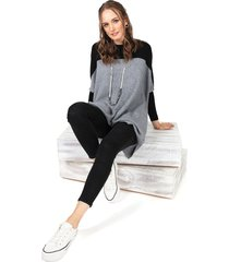 sweater privilege tejido gris - calce regular