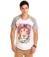 camiseta masculina lion manga raglan mescla - area verde - multicolorido - masculino - dafiti