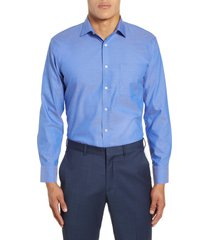 men's big & tall nordstrom men's shop trim fit non-iron dress shirt, size 17 - 36/37 - blue