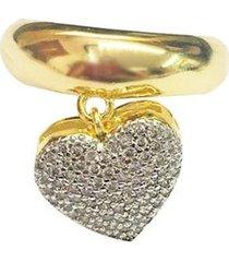 anel pingente de coracao semijoia banho de ouro 18k com cravacao em zirconia e detalhe em rodio