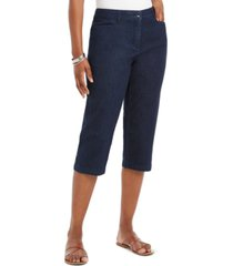 karen scott petite button-hem comfort-waist capri pants, created for macy's