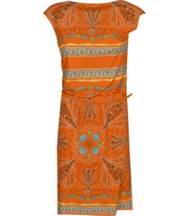 capped sleeve printed dress