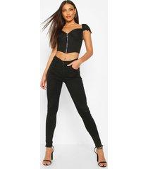 mid rise stretch skinny jeans met 5 zakken, zwart