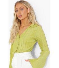 plisse blouse met klokmouwen, green