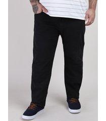 calça de sarja masculina plus size reta com bolsos preta