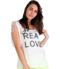 regata its&co franja - off-white - feminino - dafiti