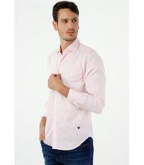camisa de hombre, silueta classic con cuello francés, preteñida a rayas, color rosado