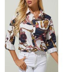 blusa de manga larga con cuello clásico y estampado de bufanda yoins