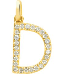 ciondolo lettera d in oro giallo e zirconi per donna