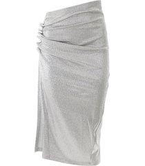 paco rabanne draped lurex skirt