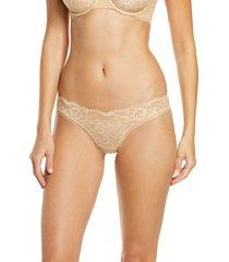 women's la perla layla brazilian panties, size medium - beige