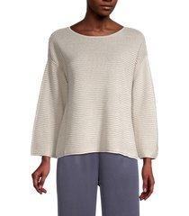 eileen fisher women's organic linen-blend drop-shoulder sweater - bone - size l