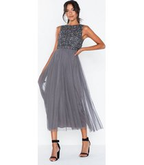 maya delicate sequin overlay dress paljettklänningar