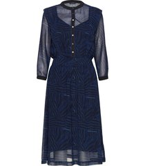 allover printed sheer dress jurk knielengte blauw scotch & soda
