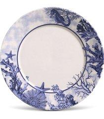 conjunto 6pã§s pratos rasos porto brasil mã´naco coral branco/azul - branco - dafiti