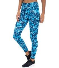 calça legging oxer abstrato - feminina - azul esc/azul cla