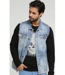 colete masculino jeans bolsos