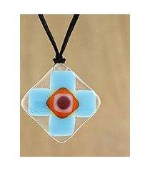 art glass pendant necklace, 'sky cross' (thailand)