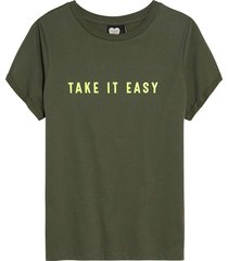catwalk junkie t-shirt take it easy olive tree groen