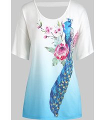 plus size flower peacock print ombre cut out tee