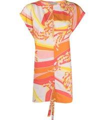 emilio pucci abstract-print beach dress - orange