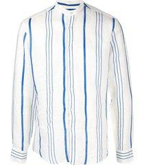 peninsula swimwear la greca striped linen shirt - white
