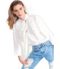 blusa para mujer color blanco estilo victoriano, cuello en  v, manga larga color-blanco-talla-xl