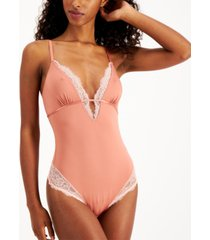 inc women's lace-trim thong bodysuit, created for macy's