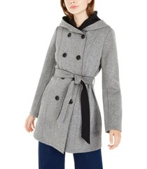 bcx juniors' tweed fleece hooded trench coat