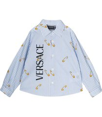 young versace light blue shirt with frontal logo press