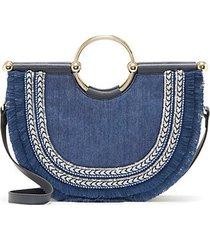small half-moon denim satchel bag