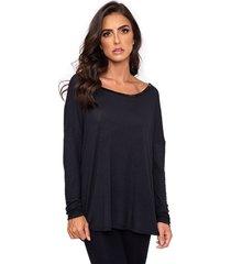 blusa bordado decote preto - preto - feminino - viscose - dafiti
