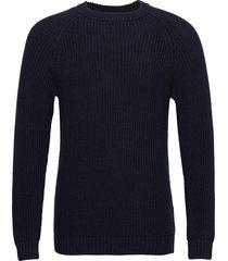 otis fisherman sweater gebreide trui met ronde kraag blauw lexington clothing