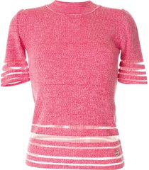 emilio pucci sheer panel knitted t-shirt - pink