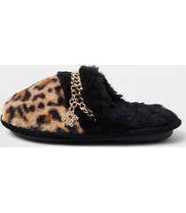 river island girls brown faux fur leopard chain slippers