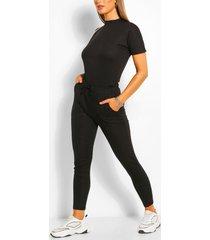 bandage boxy t-shirt & jogger set, black