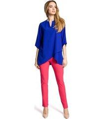 blouse moe m359 wikkelzoom top - koningsblauw